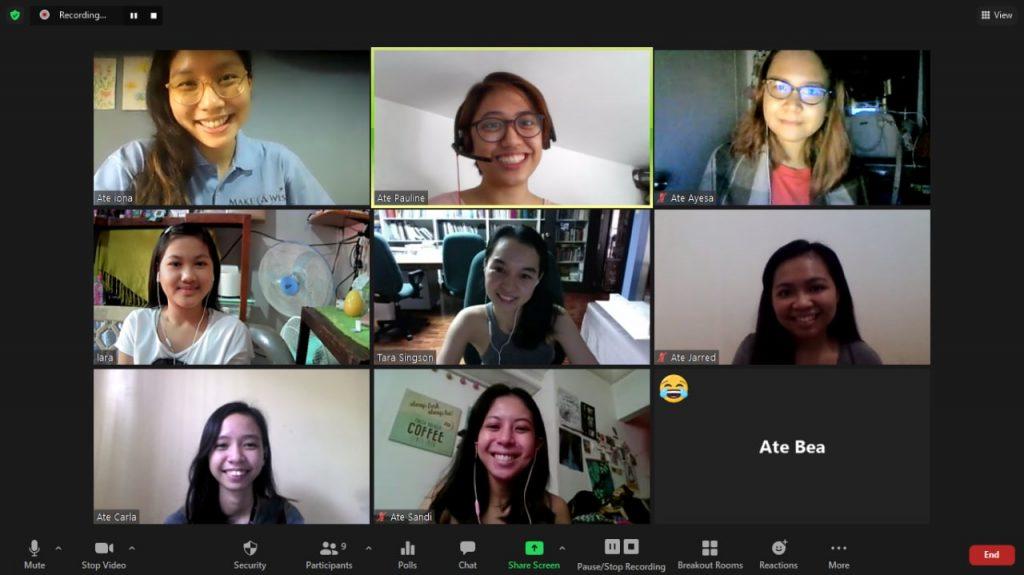 Screenshot of Zoom meeting among Make-A-Wish Philippines volunteers, staff, and wish kid