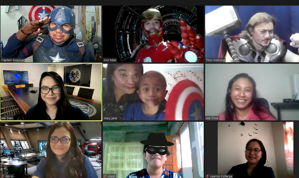 Screenshot of Zoom call among Make-A-Wish Philippines staff, wish kid and family, and partner cosplayers to bring hope