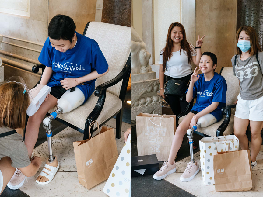 Collage of wish kid receiving wish of shoes to run and dance in from Make A Wish Philippines