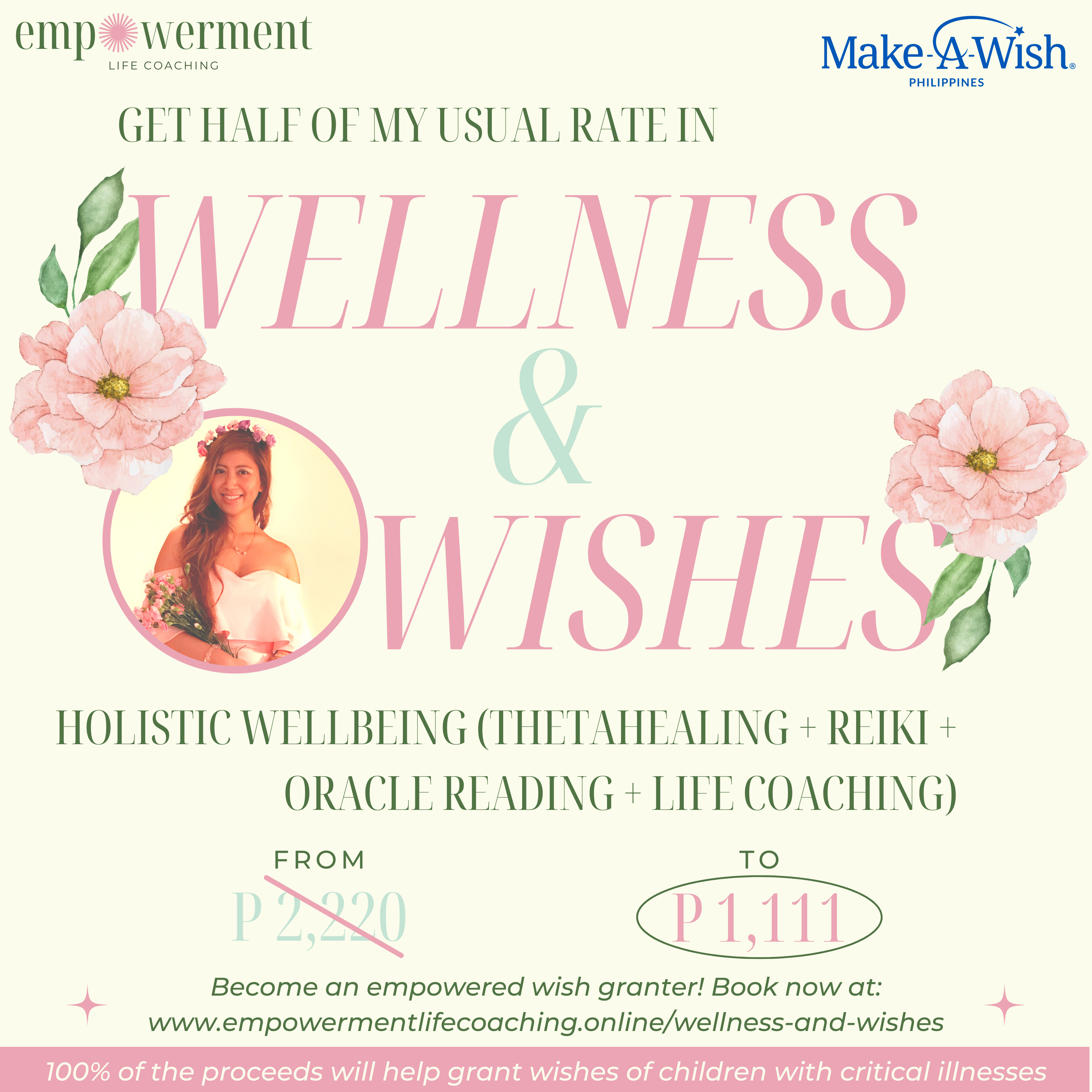 Poster for Wellness and Wishes hosted by healers to raise funds for Make-A-Wish Philippines