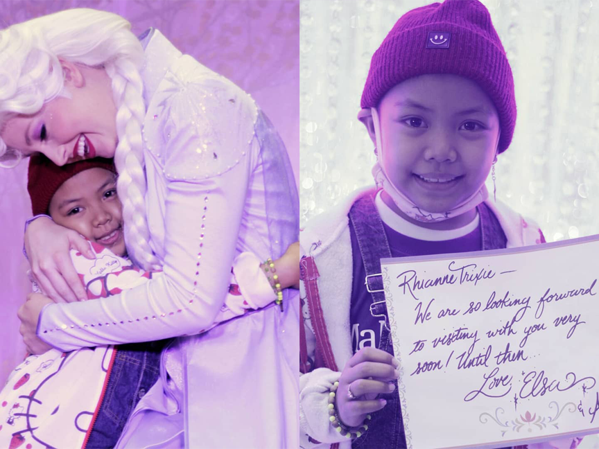 Collage of wish kid receiving a hug from a Disney Princess actor